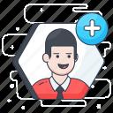 add friend, add profile, add user, human profile, join, social profile icon