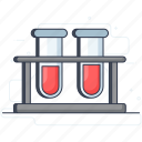 blood container, blood research, blood sample, blood test, lab test, medical test, test tube icon