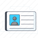 id card, identification, identification card, identity card, license icon
