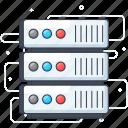 data center, data repository, data server, database, server rack icon