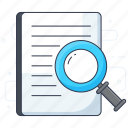 content analysis, content search, document analysis, document search, file search icon
