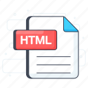 document, file extension, file format, html, html file, html format icon