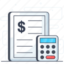 accounting, auditing, budget accounting, calculation, financial estimate, tax calculation icon