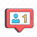 chat, comment, follow, message, notification, social media icon