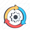 automation, integration, management, operations, process, setting, workflow icon