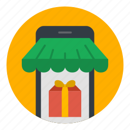 commerce, ecommerce, gift, phone, shopping, store icon