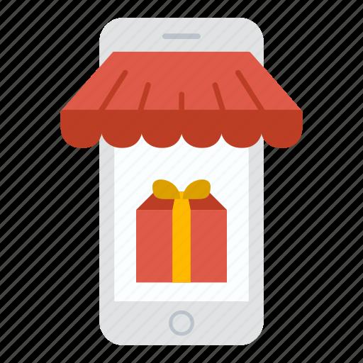 commerce, ecommerce, gift, iphone, phone, shop, shopping icon