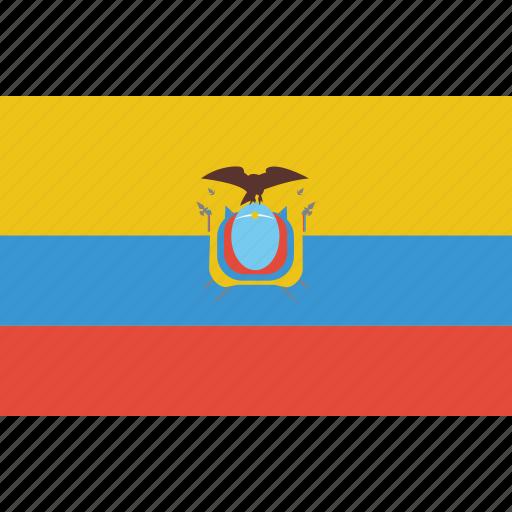 Bandera Ecuador Escudo Flag Flat Design Latina Latino Icon - Ecuador flags