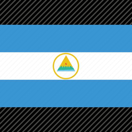 bandera, escudo, flag, flat design, latina, latino, nicaragua icon