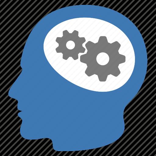 brain, business, gears, intelligence, smart icon