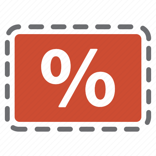 coupon, deal, percentage, red, sale icon