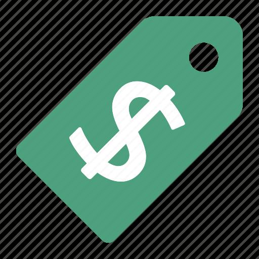 dollar, green, money, price, tag, ticket icon