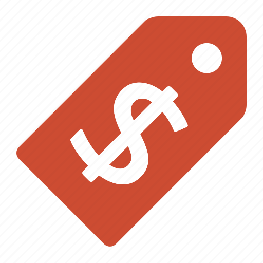dollar, price, red, tag, ticket icon