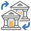 accounts, bank, change, exchange, finance, institution, money icon