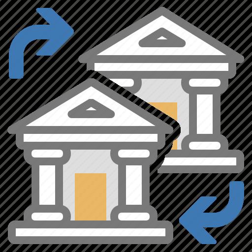 accounts, bank, change, exchange, finance, institution, money icon