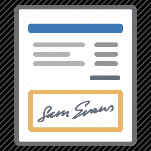 bill, details, invoice, signature icon