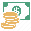 banknotes, coins, dollars, money icon