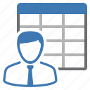 employee, table, sheet, workforce icon