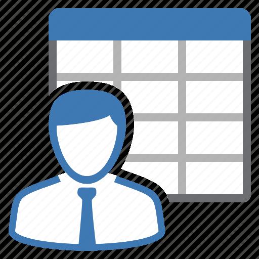 employee, sheet, table, workforce icon
