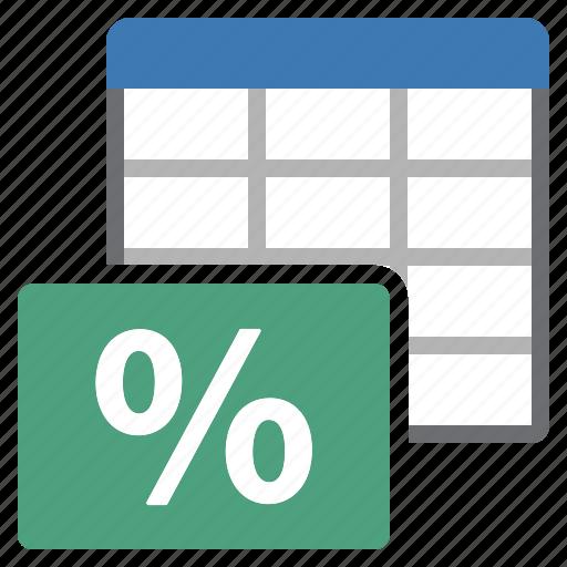 loan, percentage, sheet, table icon