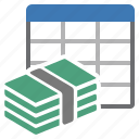 money, sheet, table icon