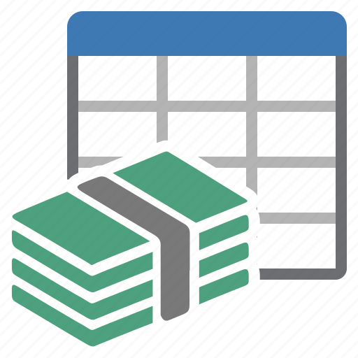 money, sheet, table icon