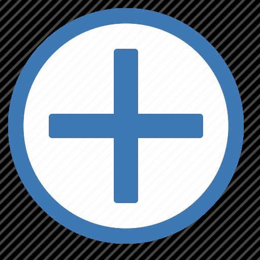 add, blue, circle, create, new, plus, white icon