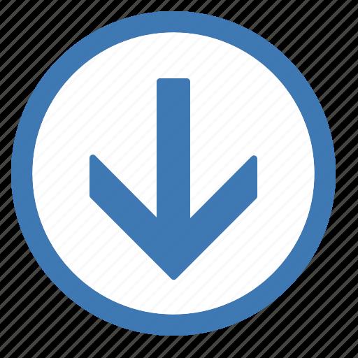 browse, circle, down icon