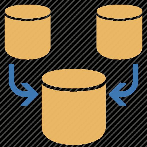 concatenate, database, databases, merge, unite icon