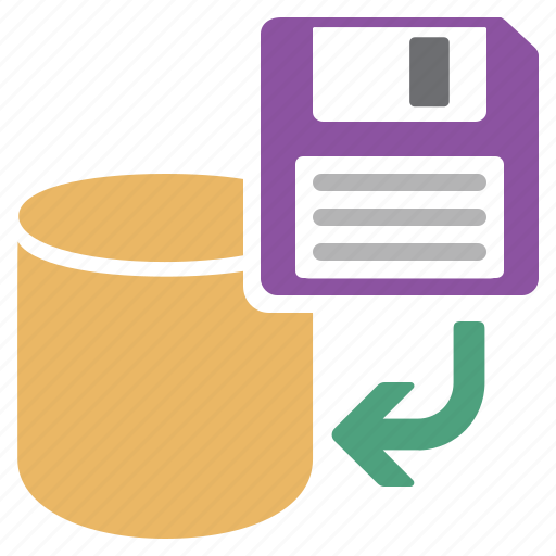 database, from, previous, restore, save icon