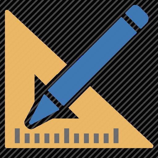 design, pencil, square ruler, work icon