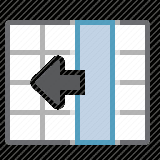 column, left, move, table icon