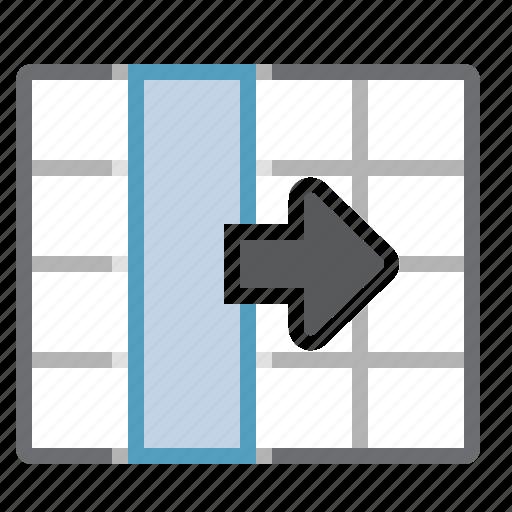 cells, column, move, right, table icon