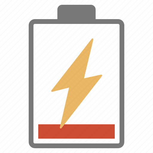 battery, charge, charging, hardware, low, network, red icon
