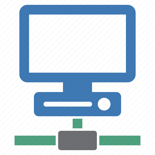 computer, connected, connection, green, hardware, network, working icon