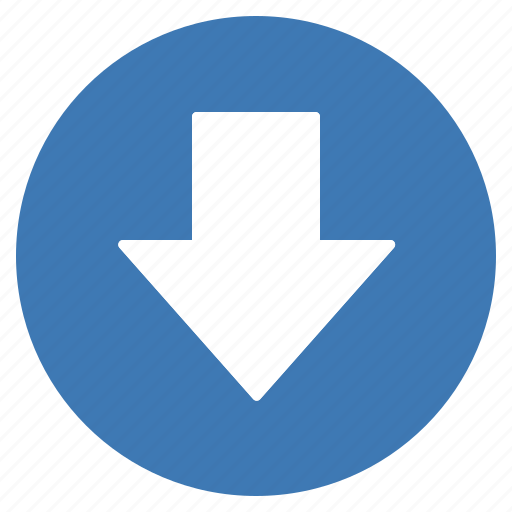 arrow, blue, direction, down, gps, location, navigation icon