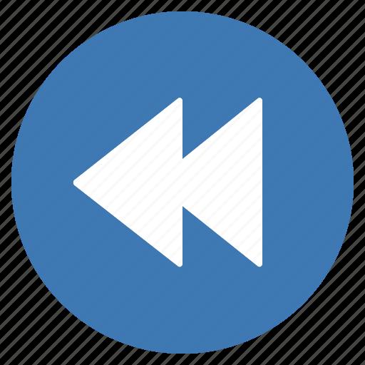 backward, blue, btn, play, previous icon