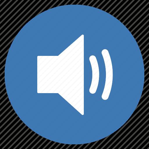audio, blue, btn, high, sound, speaker, volume icon