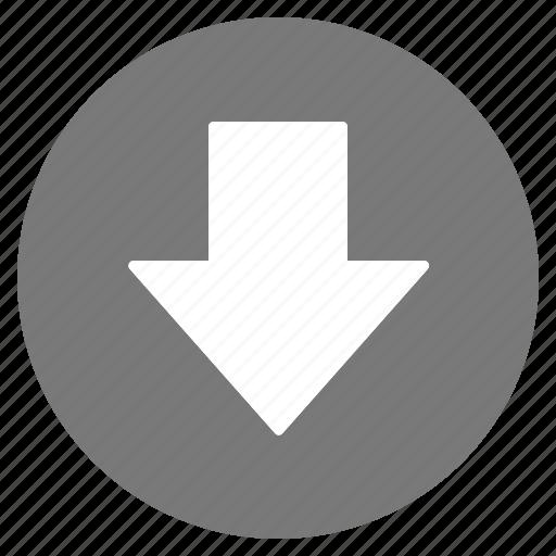 arrow, direction, down, gps, grey, location, navigation icon