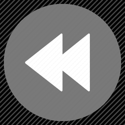 backward, btn, grey, media, play icon