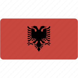 albania, country, flag, flags, national, rectangle, rectangular, world icon