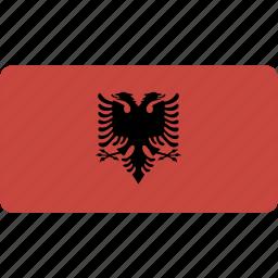 albania, country, flag, flags, national, rectangle, rectangular, world icon
