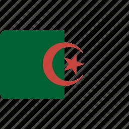 algeria, country, flag, flags, national, rectangle, rectangular, world icon