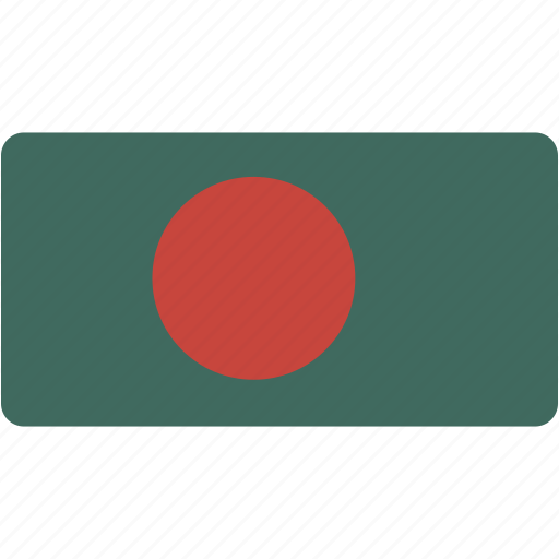 bangladesh, country, flag, flags, national, rectangle, rectangular, world icon