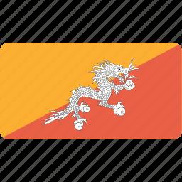bhutan, country, flag, flags, national, rectangle, rectangular, world icon
