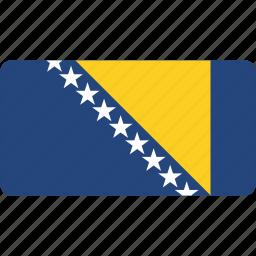 bosnian, country, flag, flags, national, rectangle, rectangular, world icon