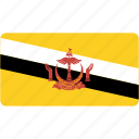 brunei, country, flag, flags, national, rectangle, rectangular, world icon