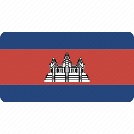 cambodia, country, flag, flags, national, rectangle, rectangular, world icon
