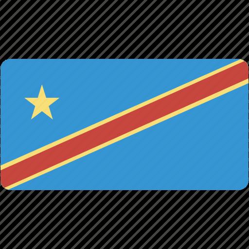 congo, country, flag, flags, kinshasa, national, rectangle, rectangular, world icon