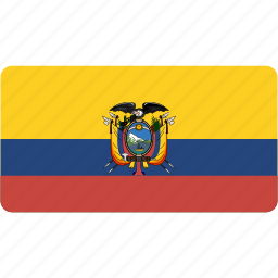 country, ecuador, flag, flags, national, rectangle, rectangular, world icon